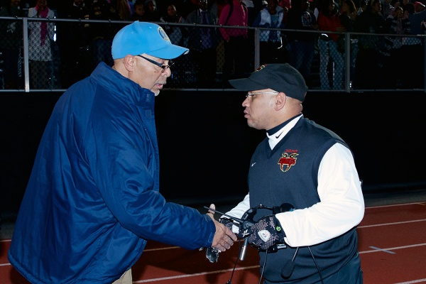 <p><p>Germantown Bears coach Michael Hawkins congratulates Imhotep Panthers Coach Albie Crosby on his team's victory. (Bas Slabbers/for NewsWorks)</p></p>