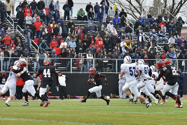 <p><p>On Saturday, at a packed Benjamin Johnston Memorial Stadium, Kadmiel Kelome and the Imhotep Panthers battled against the Wyomissing Spartans in the state semifinal game. (Bas Slabbers/for NewsWorks)</p></p>