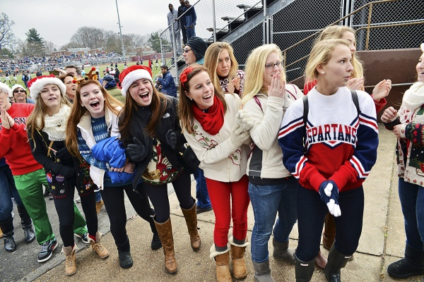 <p><p>Wyomissing fans lined the walkway from the locker room to the Benjamin Johnston Memorial Stadium field prior to the game. (Bas Slabbers/for NewsWorks)</p></p>