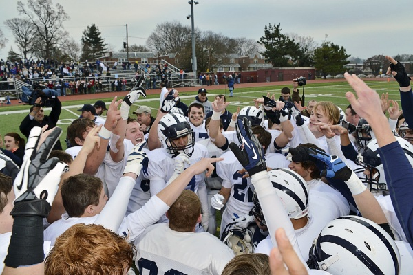 <p><p>The Wyomissing Spartans celebrate their 35-13 victory over the Imhotep Panthers at Benjamin Johnston Memorial Stadium in Northwest Philadelphia. (Bas Slabbers/for NewsWorks)</p></p>