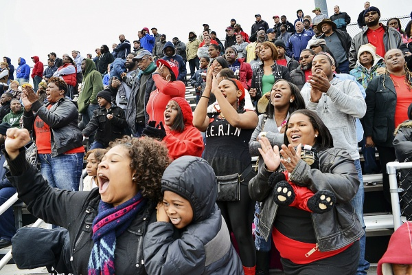 <p><p>In the Imhotep bleachers, fans tried to rally the undefeated Panthers to a 15-0 record and into the state-championship game against Aliquippa. (Bas Slabbers/for NewsWorks)</p></p>
