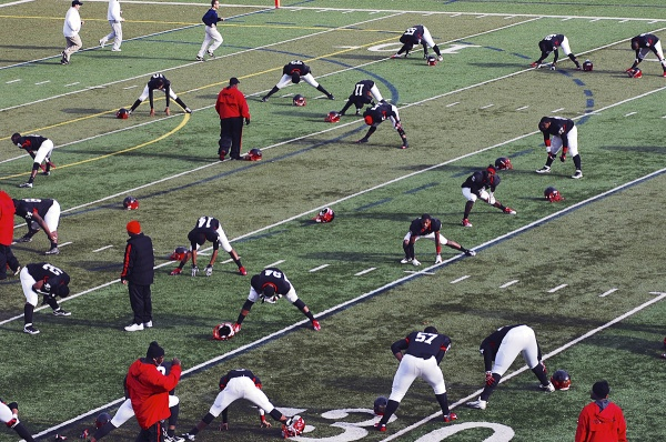 <p><p>The Imhotep Panthers had a dominant, undefeated season. As they stretched during halftime, they faced the unfamiliar feeling of trailing on the scoreboard. (Bas Slabbers/for NewsWorks)</p></p>
