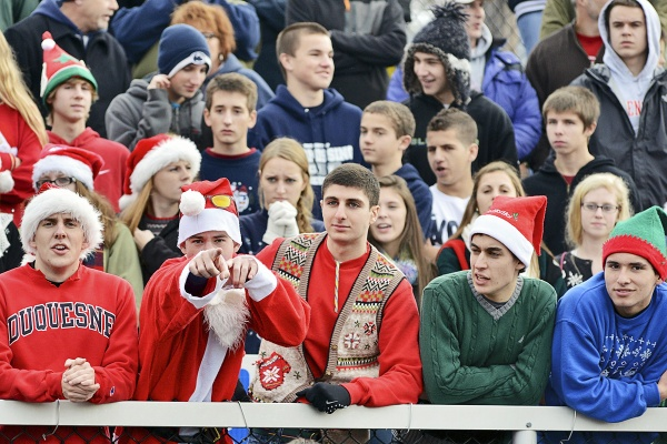 <p><p>Some Wyomissing supporters, who traveled by car and bus from the Reading area for the Saturday afternoon game in Germantown, dressed in holiday gear. (Bas Slabbers/for NewsWorks)</p></p>