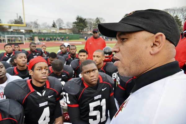 <p><p>Coach Albie Crosby tells his Imhotep Panthers that he is proud of them, and lauded their opponents. (Bas Slabbers/for NewsWorks)</p></p>