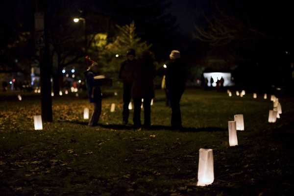 <p><p>Luminaries lit up the path to the monument in McMichael Park. (Bas Slabbers/for NewsWorks)</p></p>