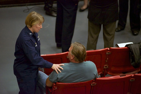 <p>&lt;p&gt;U.S. Coast Guard Capt. Kathy Moore talks to resident William Dick, whose employer was closed due to the evacuation order. (Bas Slabbers/for NewsWorks)&lt;/p&gt;</p>
