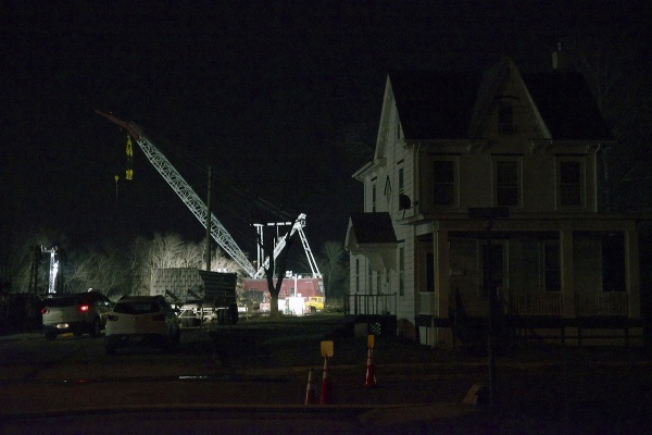 <p>&lt;p&gt;The crane is seen at work behind an evacuated house alongside the track on Tuesday night. (Bas Slabbers/for NewsWorks)&lt;/p&gt;</p>
