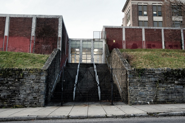 <p><p>A gated side entrance of Roosevelt Elementary. (Bas Slabbers/for NewsWorks)</p></p>