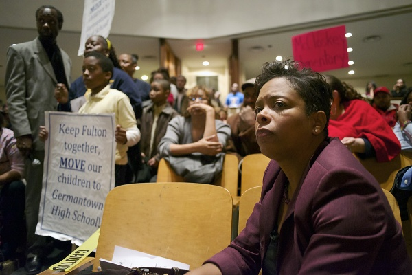 <p><p>Eighth District City Councilwoman Cindy Bass listens to the response to a question raised by Fulton third grader Sahir Dellior (left with sign). (Bas Slabbers/for NewsWorks)</p></p>