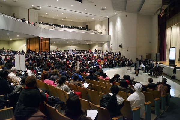 <p>The event is held in the auditorium of Martin Luther King High School. (Bas Slabbers/for NewsWorks)</p>