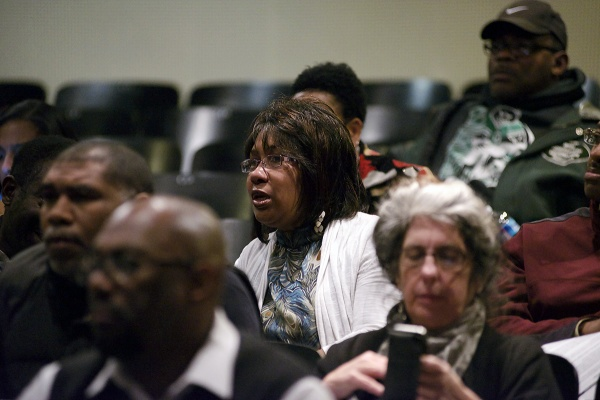<p><p>Germantown High School Principal Mrs. Mullen-Bavwidinsi sits in the back of the auditorium amongst a small delegation from the school. (Bas Slabbers/for NewsWorks)</p></p>