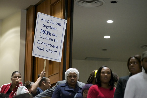 <p><p>Concerned parents of Robert Fulton Elementary presented a plan to move the school into the Germantown High School's facility across the street to save money.(Bas Slabbers/for NewsWorks)</p></p>