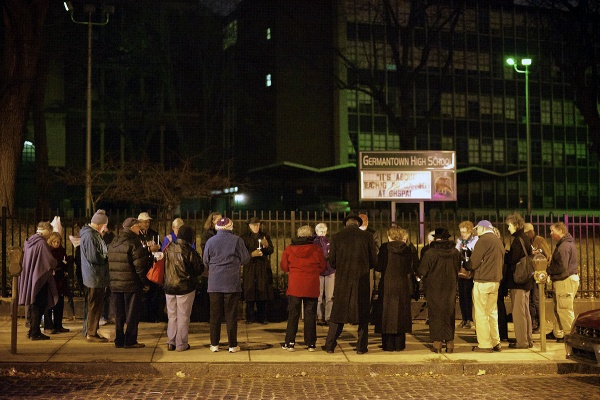 <p>About thirty people attended the vigil held in remembrance for shooting victims. (Bas Slabbers/for NewsWorks)</p>