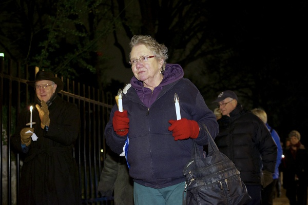 <p><p>Celeste Zappala caries two batterie powers candles. Zappala, a peace activist from Mt. Airy, started to attend vigils after her son got killed in Iraq. (Bas Slabbers/for NewsWorks)</p></p>