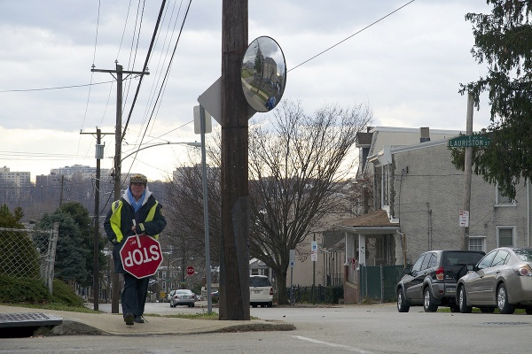 <p><p>Chris Bartholomew returns to her intersection for the afternoon crossing guard shift. (Bas Slabbers/for NewsWorks)</p></p>
