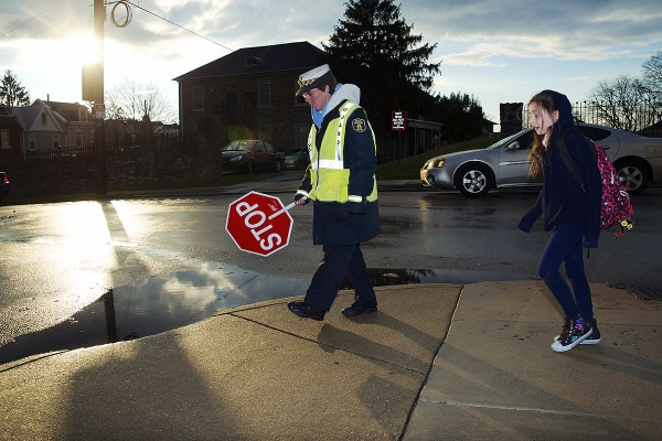 <p><p>For seven years, crossing guard Chris Bartholomew has been stationed at the intersection of Righter and Lauriston streets near Cook-Wissahickon School. (Bas Slabbers/for NewsWorks)</p></p>