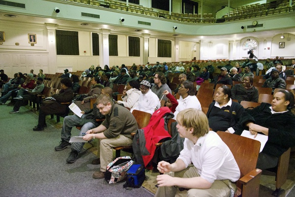 <p><p>Germantown High School alumni discuss the school's future at a Wednesday night meeting called to mount opposition to a district proposal to close it in June. (Bas Slabbers/for NewsWorks)</p></p>