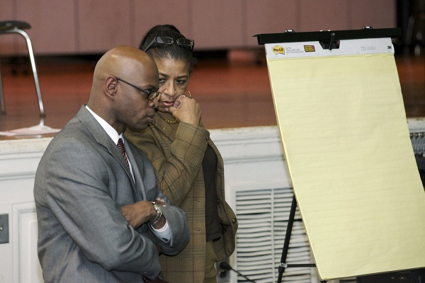 <p><p>State Rep.-elect Stephen Kinsey and Vera Primus, president of Germantown High School's alumni association, strategize an approach to keep GHS open next year. (Bas Slabbers/for NewsWorks)</p></p>