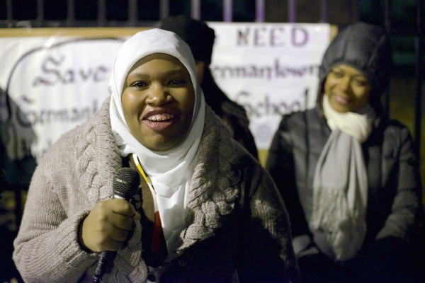 <p><p>GHS senior Aliyah Muhammed attended the vigil and spoke about the need for GHS to remain open. (Bas Slabbers/for NewsWorks)</p></p>