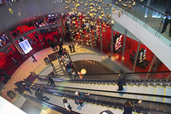 <p><p>The escalators bring the guests to the various floors in the Revel casino. (Bas Slabbers/for NewsWorks)</p></p>