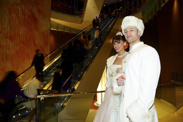 <p><p>This winter themed couple welcomes the guests at the entrance of the Revel with a smile. (Bas Slabbers/for NewsWorks)</p></p>