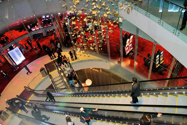<p>The escalators bring the guests to the various floors. (Bas Slabbers/for NewsWorks, file)</p>