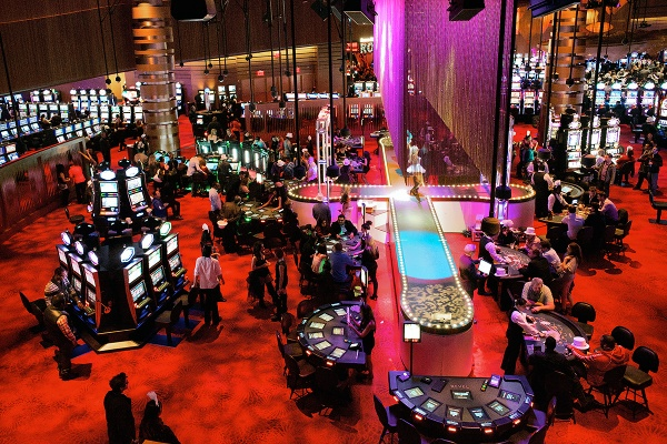 <p>A view on the Digipit and the Burlesque catwalk area on the casino floor of Revel. (Bas (Bas Slabbers/for NewsWorks, file)</p>