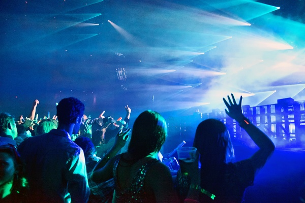 <p>A light spectacle takes place as the main act of the night takes the stage of Revel Nightlife's entertainment venue the Ovation Hall. (Bas Slabbers/for NewsWorks, file)</p>