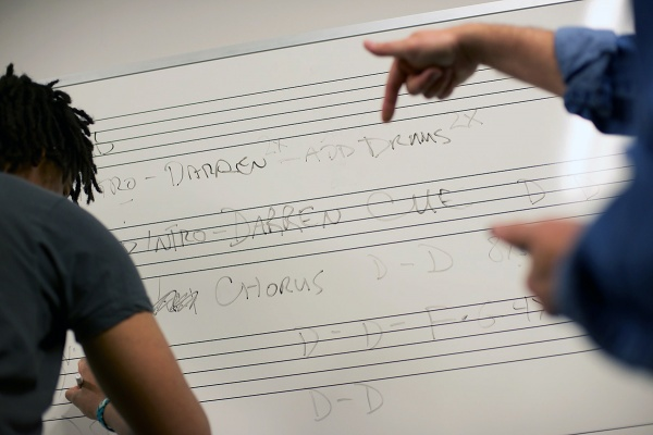 <p>The schematics of a song are made visible on a whiteboard in the classroom. (Bas Slabbers/for NewsWorks)</p>
