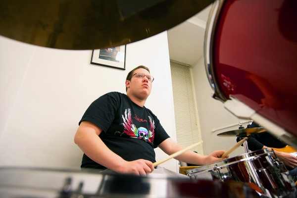 <p>Nate Males on drums. (Bas Slabbers/for NewsWorks)</p>
