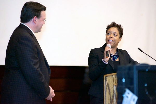 <p><p>Eighth District Councilwoman Cindy Bass made remarks at the Thursday night event. (Bas Slabbers/for NewsWorks)</p></p>