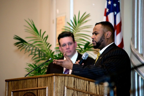 <p><p>Fourth District Councilman Curtis J. Jones, Jr. addressed the crowd on Thursday night. (Bas Slabbers/for NewsWorks)</p></p>