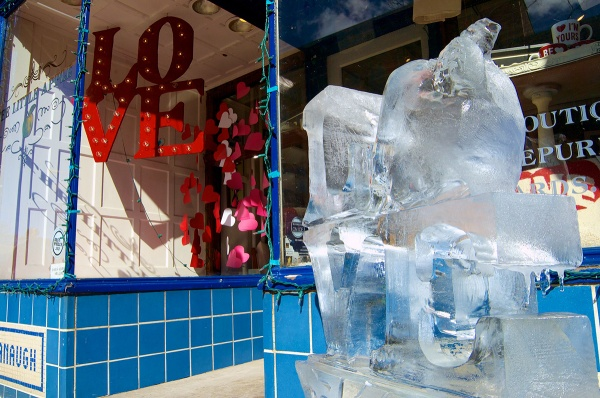 <p><p>A LOVE ice sculpture welcomes customers to The Little Apple on Main Street. (Bas Slabbers/for NewsWorks)</p></p>