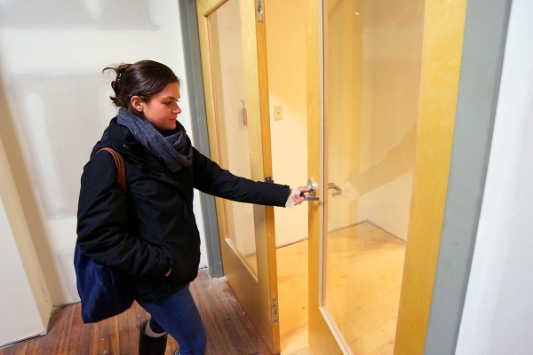 <p><p>Ali Cook enters the room that will soon become the space for her business. (Bas Slabbers/for NewsWorks)</p></p>