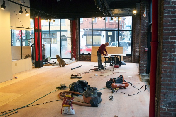 <p><p>The first floor window of the future fitness studio looks out towards Levering Street in Manayunk. (Bas Slabbers/for NewsWorks)</p></p>