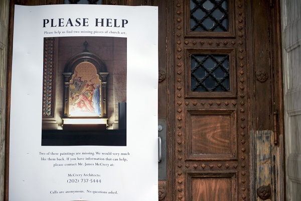 <p><p>A poster on the door of St. Francis of Assisi Church in Germantown asks for people with information about the Feb. 1 burglary to come forward. (Bas Slabbers/for NewsWorks)</p></p>