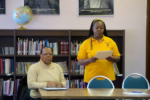 <p><p>Sharon Mitchell, of the School Advisory Council of Fulton Elementary, speaks to those assembled at the school on Tuesday morning. (Bas Slabbers/for NewsWorks)</p></p>