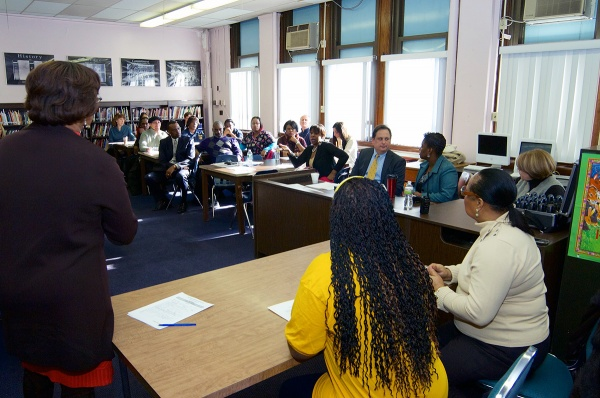 <p><p>Parents, educators and community members attended a school-district meeting in the library of Fulton Elementary on Tuesday morning. (Bas Slabbers/for NewsWorks)</p></p>