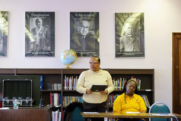 <p><p>Hervoline Mitchell, board member of the Germantown High school Alumni Association, presents a proposal as part of ongoing efforts to save GHS. (Bas Slabbers/for NewsWorks)</p></p>