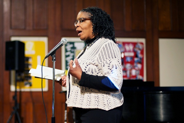 <p><p>Victoria Peurifoy delivered a mix of poetry and song. (Bas Slabbers/for NewsWorks)</p></p>