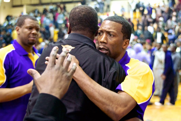 <p>&lt;p&gt;Cougars coach Sean Colson is comforted after coming thisclose to the Public League finals. (Bas Slabbers/for NewsWorks)&lt;/p&gt;</p>
