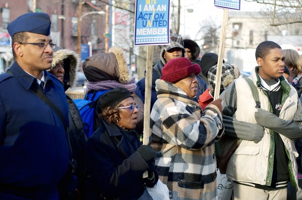 <p><p>Despite a cold wind, residents turned out for the rally. (Bas Slabbers/for NewsWorks)</p></p>