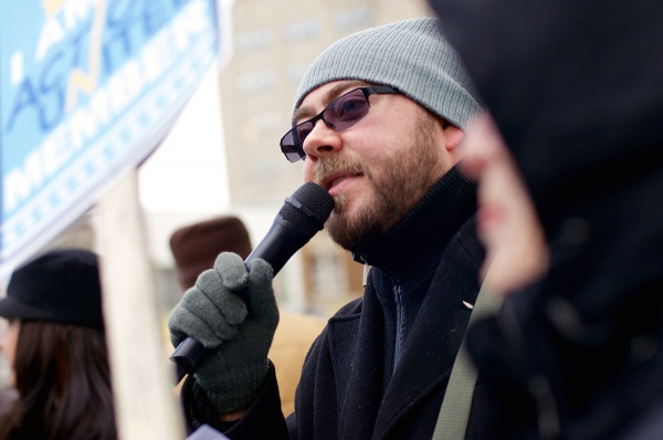 <p><p>At the rally, Matthew Pillischer talked about a documentary he worked on regarding social issues. (Bas Slabbers/for NewsWorks)</p></p>
