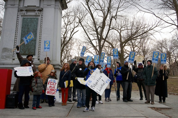 <p><p>Calls for a moratorium and anti-privatization messages were on display at Wednesday's Vernon Park rally against closing nearby Germantown High School. (Bas Slabbers/for NewsWorks)</p></p>