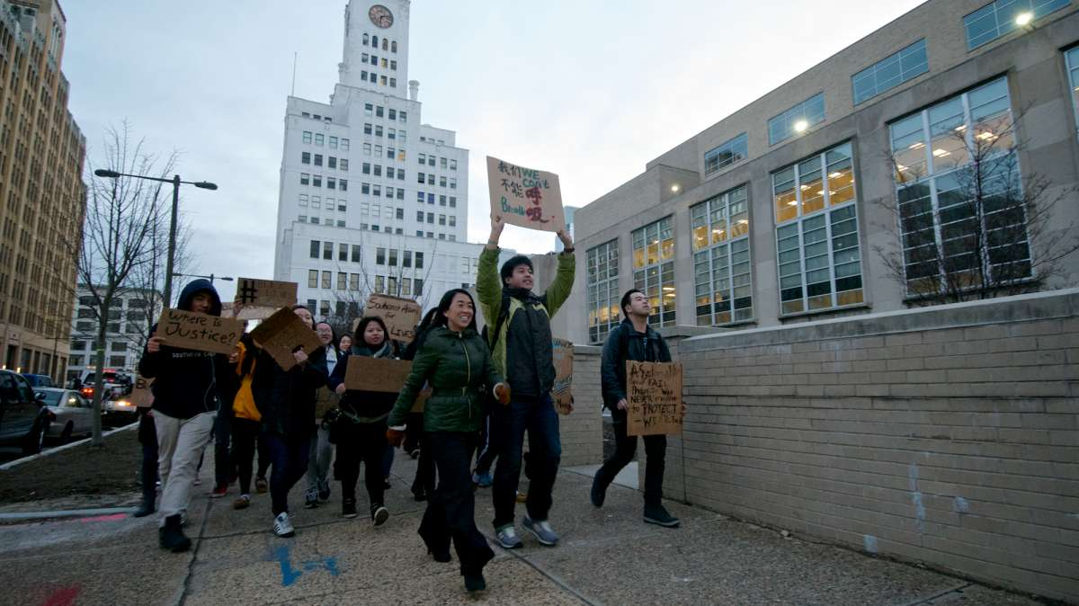 Marchers at the Philadelphia school administration building. (Bas Slabbers/for NewsWorks)