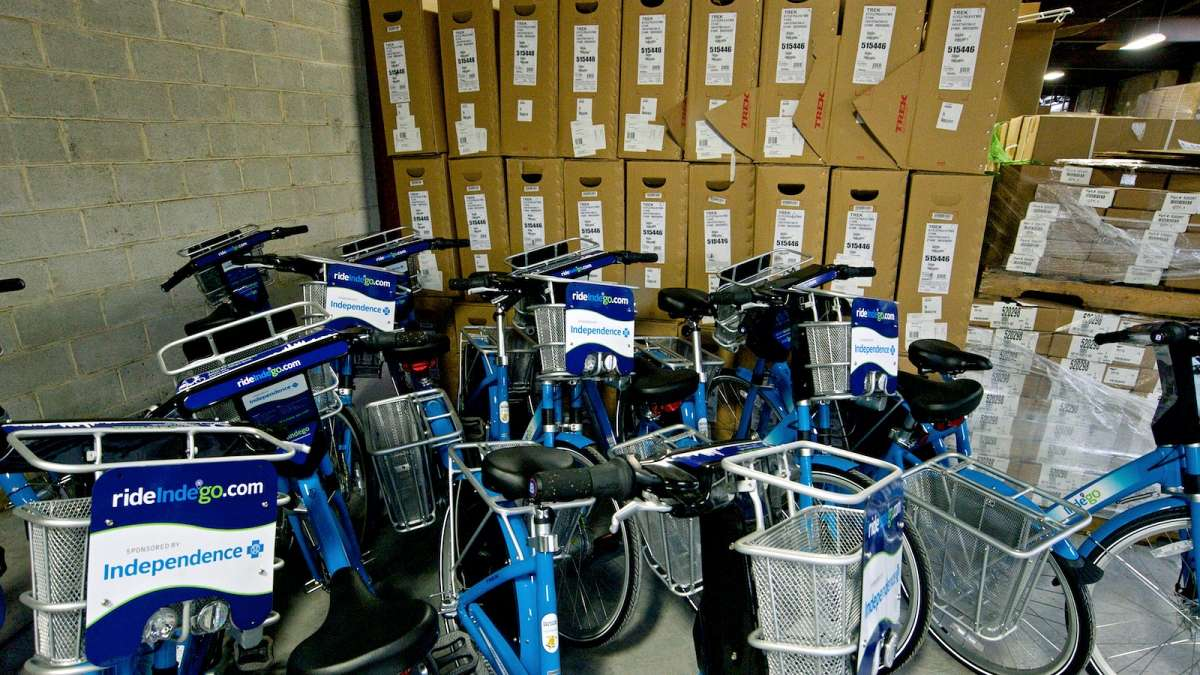 In the back of the warehouse a group of finished Indego bikes wait to be used. (Bastiaan Slabbers/for NewsWorks)