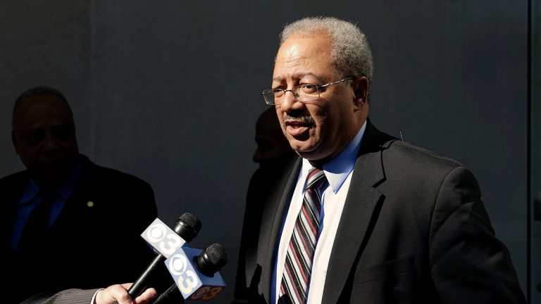 U.S. Rep. Chaka Fattah answers questions at the U.S. Courthouse in Philadelphia. (Bastiaan Slabbers for NewsWorks)