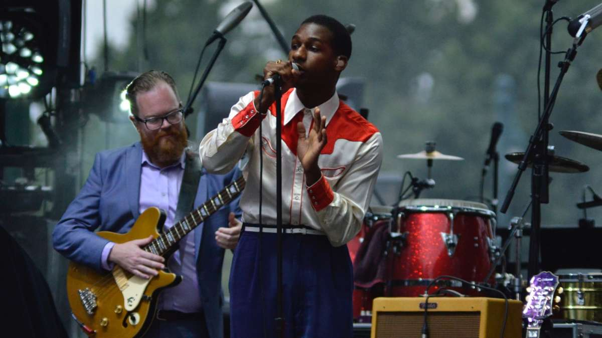 Gospel and soul singer Leon Bridges performs at the Wawa Welcome America 4th of July Concert.