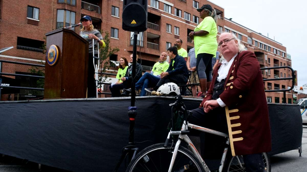 Even Benjamin Franklin came out on his bike to participate in Philly Free Streets Day.