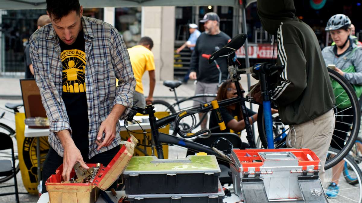 Basic bicycle tune-ups are performed by youth mechanics of Neighborhood Bike Works.